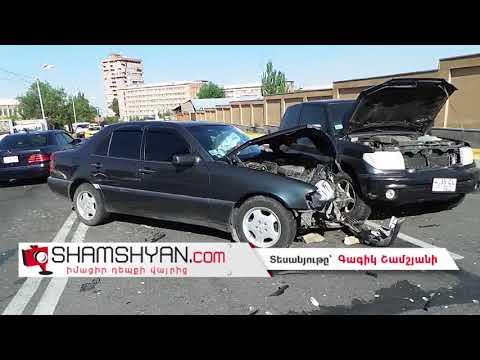 Ավտովթար Երևանում. Պաշտպանության նախարարության դիմաց բախվել են Mercedes-ն ու Mitsubishi Pajero IO-ն