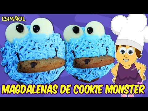 Magdalenas de Cookie Monster | Espanol Receta para ñinos | Spanish Recipes