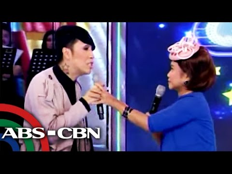 Veteran actress Maricel Soriano couldn't contain her laughter as she watched host-comedian Vice Ganda and comedienne Eugene Domingo re-enact famous scenes fr...