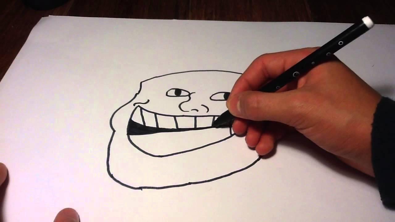 Dessiner un visage troll face tutoriel faire un troll face apprendre dessiner youtube - Dessin geometrique a faire ...
