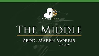 Download Lagu Zedd, Maren Morris & Grey - The Middle - LOWER Key (Piano Karaoke / Sing Along) Gratis STAFABAND