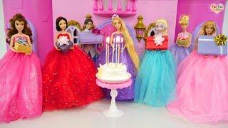 Rapunzel Birthday Party with Princesses & Barbie ! Pesta Ulang Tahun Rapunzel Festa de aniversário