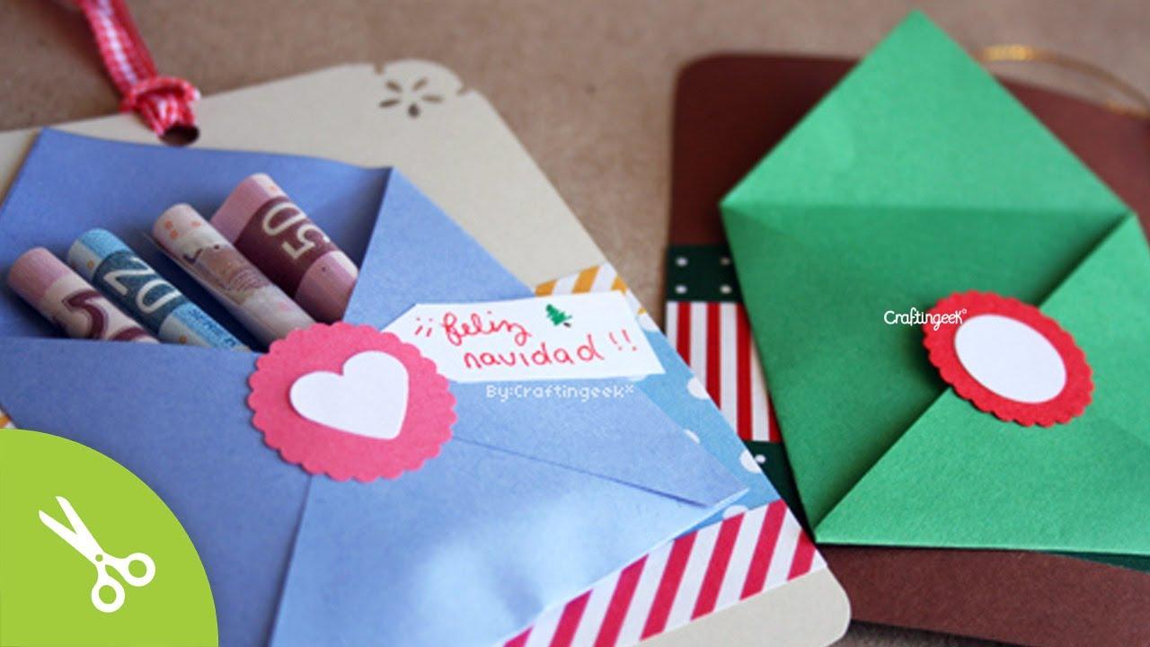 Tarjeta regala dinero regalo navidad facil original - Como hacer una felicitacion de navidad original ...