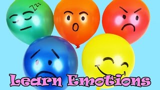Teach & Learn Emotions with Colorful Faces Balloon For Children | Finger Family Nursery Rhyme