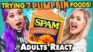 Adults React To And Try 7 Bizarre PUMPKIN SPICED Food And Products