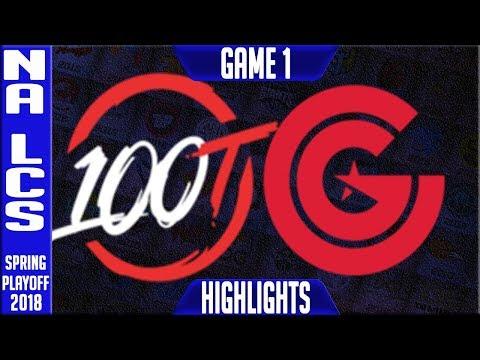100 vs CG Highlights G1 Playoffs | NA LCS Semi-Final Spring 2018 100 Thieves vs Clutch Gaming Game 1