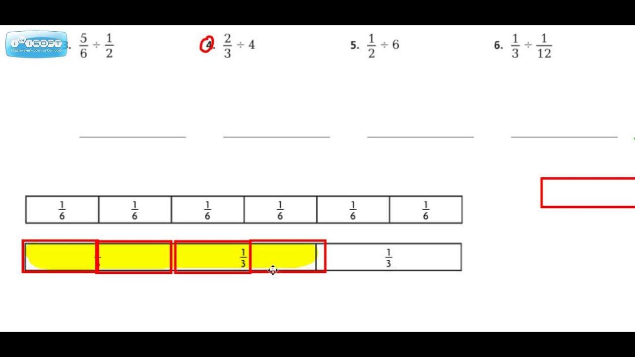 Model Fraction Division 2.5 # 4 Go Math Grade 6 - YouTube