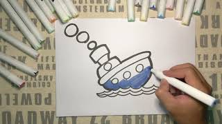 Boat Drawing and Coloring for Kids | Super Cool Arts & Crafts