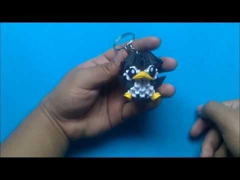 Origami 3D Llavero de pinguino