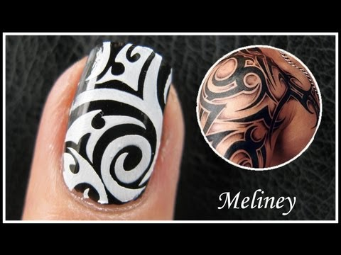 TATTOO NAIL ART DESIGNS   EASY HOW TO TRIBAL ARTIST GRAFFITI KONAD STAMPING TUTORIAL FOR BEGINNERS