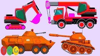 Xe Xúc Đất, Xe Cứu Hỏa, Xe Cứu Thương, Xe Tank 04   TopKidsGames (TKG) 275