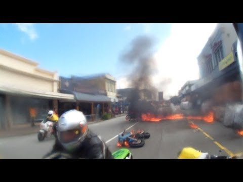 Fiery motorcycle crash footage. Greymouth Street Race. October 2013.
