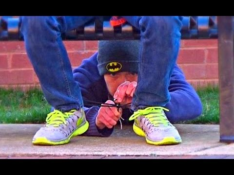 👑 Tying Peoples Shoes and Stealing their Stuff Prank