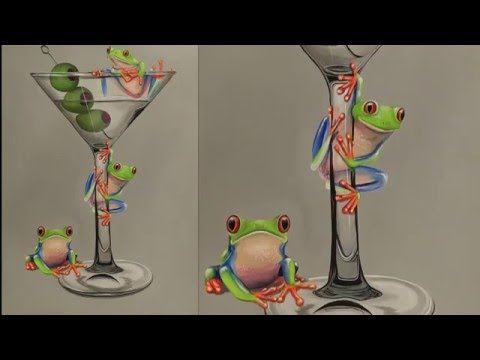 Painting a Martini Glass and Tree Frogs