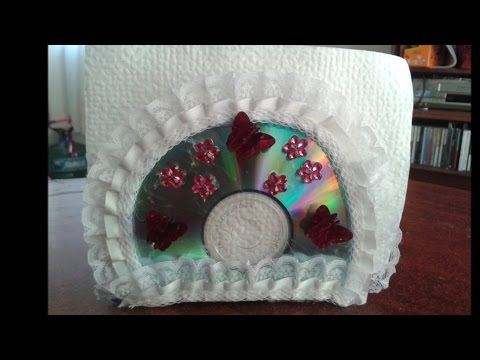 DIY: SERVILLETERO HECHO CON CDS RECICLADOS/DIY: NAPKIN HOLDER MADE WITH RECYCLED CDS