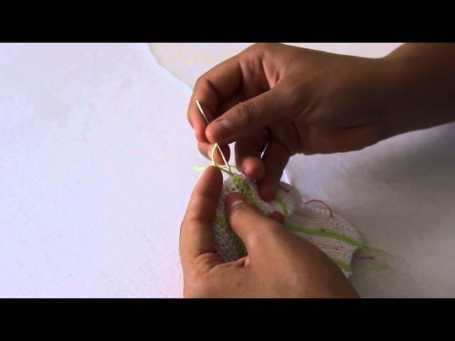 Способы заправления нити в конце вязания