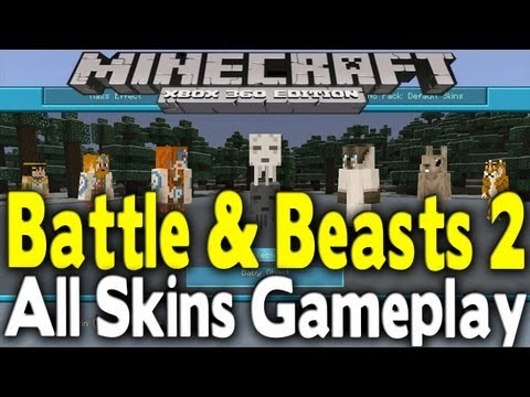 Minecraft Xbox 360 - BATTLE & BEASTS 2 SKIN PACK EARLY SHOWCASE (All Skins Shown)