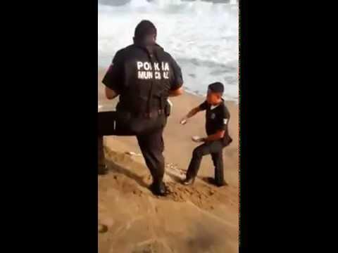 Policías de Manzanillo Colima, lanzan huevos de tortuga al mar.