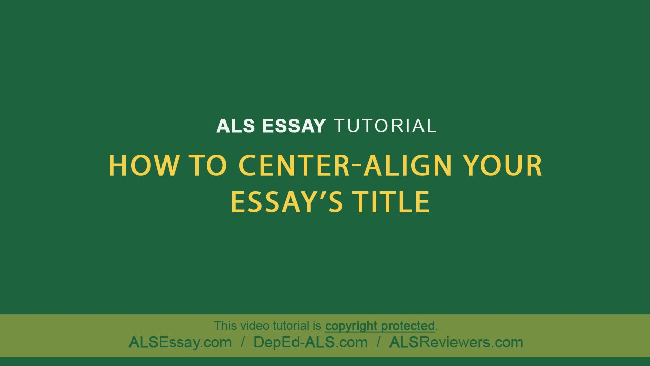 titling your essay Titling an essay titling an essay formatting an essay in mla style heading on the first page, in the upper left-hand corner, place your name, your instructor's name.
