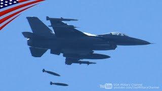 射爆場へ500ポンド爆弾を投下するF-16戦闘機