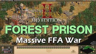 FFA War: Forest Prison - Age of Empires 2 HD Multiplayer - African Kingdoms Custom Scenario - Aztecs