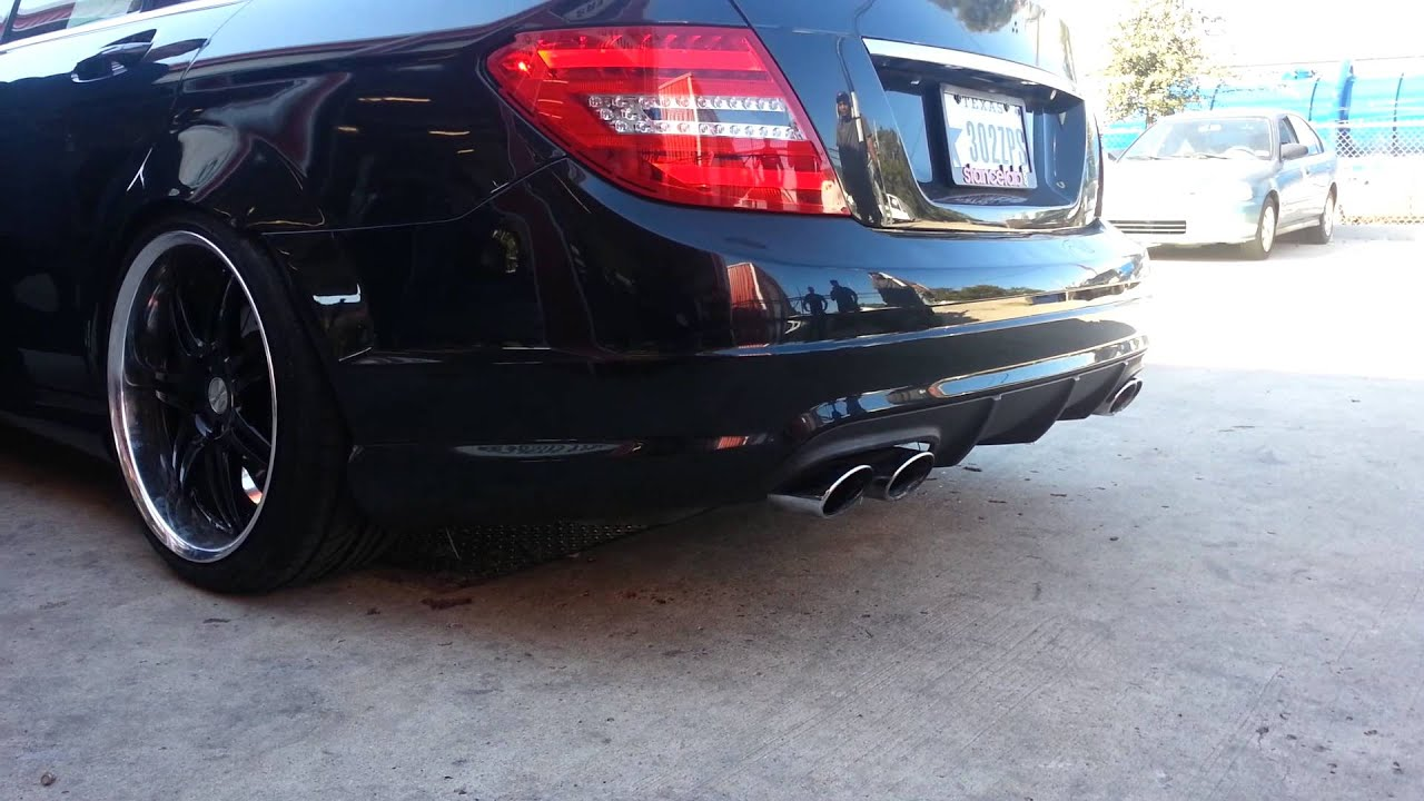 Custom exhaust on the mercedes c class youtube for Mercedes benz c300 exhaust
