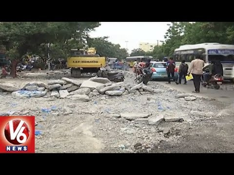 Hyderabad City People Facing Problems With GHMC Engineers Negligence Over Roads Repair | V6