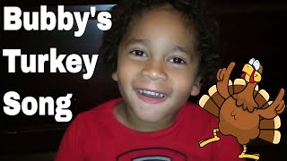 Practicing His Turkey Song For Preschool Thanksgiving Feast Party | Bubby's Turkey Song