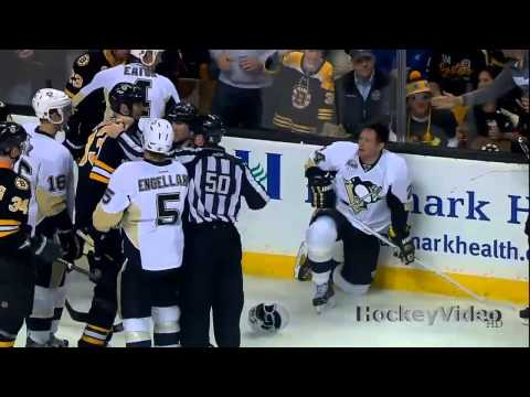 Matt Cooke hipchecks Adam McQuaid . Apr 20, 2013