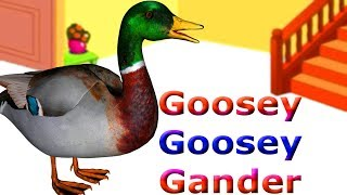 Goosey Goosey Gander Nursery Rhymes Original Version | Goosey Goosey Gander Kids 3D Animation Rhymes
