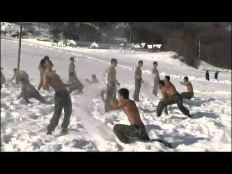 South Korean soldiers naked in snow in Pyeongchang