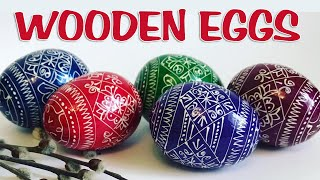 Wooden Easter Eggs (Pysanky) painted by brush (Писанки мальованки)