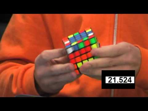 Feliks Zemdegs 5x5 (former) world record single 51.31 slow motion