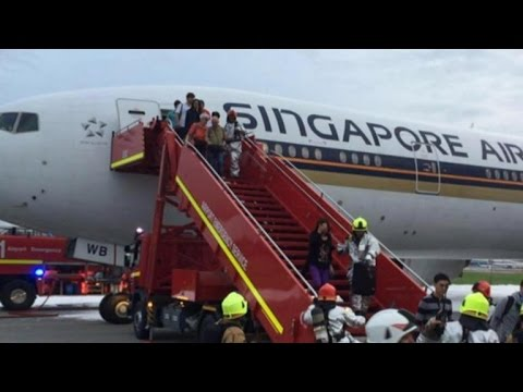 Passengers safe after Singapore Airlines jet catches fire