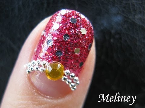 Prom Nails Glitter Red Party