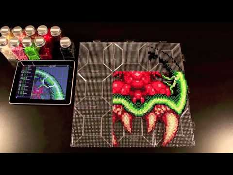 Samus vs. Giant Metroid Perler Bead Sprite using Bead It! HD version 1.4!  (Grid