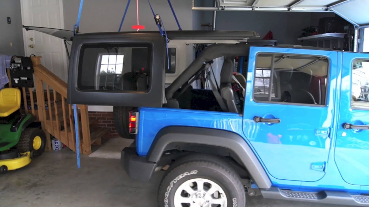 how to install your jeep wrangler 4 door hard top simple hoist system youtube. Black Bedroom Furniture Sets. Home Design Ideas