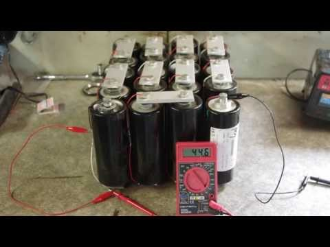 Discharging a bank of 20 supercapacitors