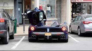 TDF Blue LaFerrari in Flurrying Snow - Greenwich - Pt. 12 - 2X Startups, Revs, Driving!