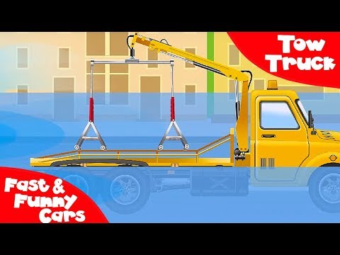 The Red Tow Truck and The Truck - Service Vehicles. Cars & Trucks Cartoon for kids