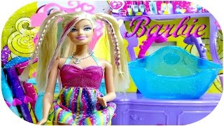Barbie  hair Staylin Salon Game set -Barbie Renkli uzun  saçlar Kuaför  Salonu