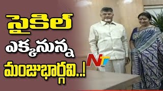 Actress Manju Bhargavi Meets AP CM Chandrababu Naidu | Likely to Join TDP | NTV