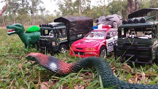 Playing in Forest with Police Car  - Bison and Dinosaur attract on Army Trucks - Toy for Kids