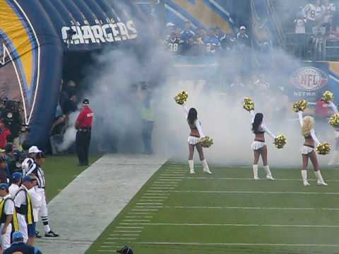 The San Diego Chargers starting defense being introduced, October 12, 2008, before a game against the New England Patriots at Qualcomm Stadium in San Diego.