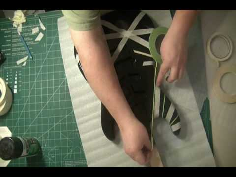 HOW TO PAINT A EVH VAN HALEN BLACK AND WHITE FRANKENSTRAT PROJECT GUITAR TAPE DESIGN PART 2