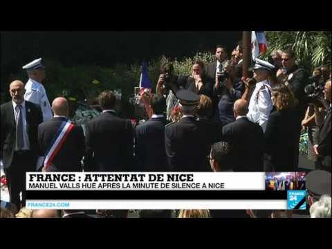 Attentat de Nice - Manuel Valls hué après la minute de silence à Nice