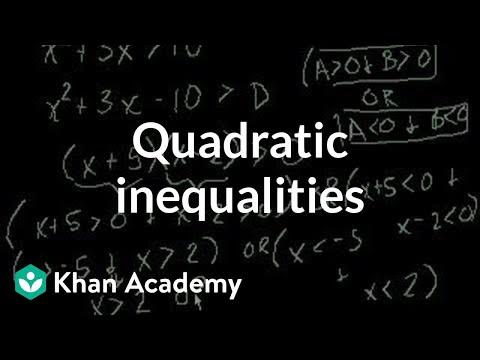 Quadratic inequalities   Polynomial and rational functions   Algebra II   Khan Academy