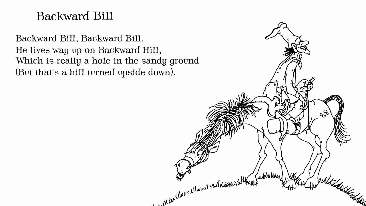 Falling up Poems And Drawings Shel Silverstein 'backward