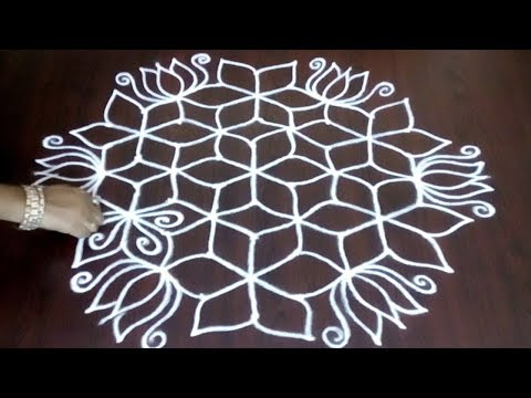 New 9 x 5 Lotus Flower Design ||   Flower Design With Easy Chukkala  Idea || Fashion World