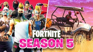 FORTNITE SEASON 5 IS LIVE **VEHICLES NOW AVAILABLE**!!!!! BATTLE PASS AND NEW MAP UPDATE!!